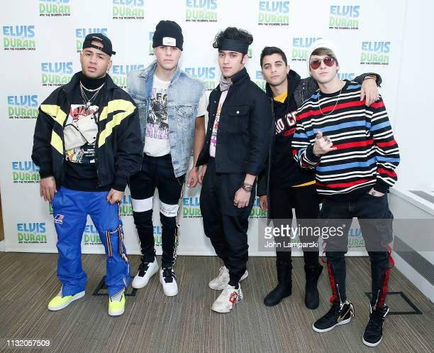 "Richard Camacho, Zabdiel de Jesus, Joel Pimentel, Erick Brian Colon and Christopher Velez of CNCO pose during the ""The Elvis Duran Z100 Morning Show""..."