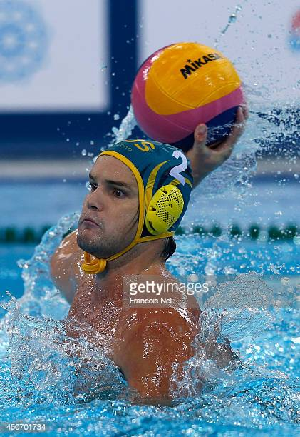 Richard Campbell of Australia in action during the Fina Men's Water Polo World League Super Final Group Match between Hungary and Australia at the...