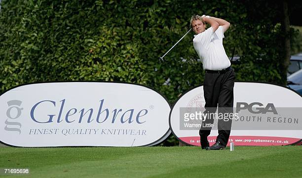 Richard Campbell of West Berkshire GC tees off on the first hole enroute to shooting a qualifying score of 60 during the Glenbrae Fourball PGA South...