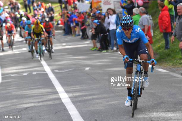 Richard Carapaz of Ecuador and Movistar Team / Fans / Public / during the 102nd Giro d'Italia 2019, Stage 14 a 131km stage from Saint Vincent to...