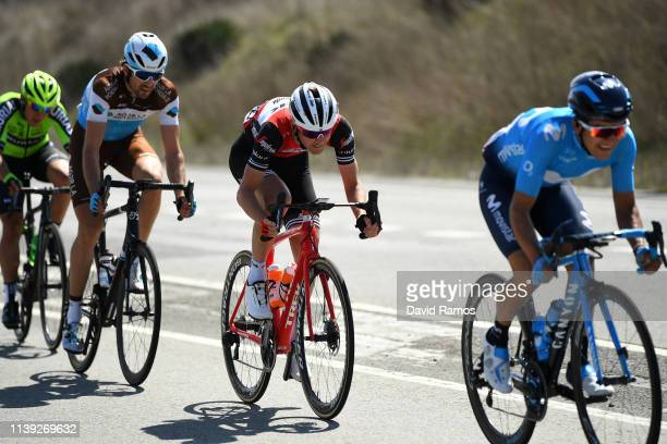 Richard Carapaz of Ecuador and Movistar Team / Peter Stetina of The United States and Team Trek Segafredo / Ben Gastauer of Luxembourg and Team AG2R...