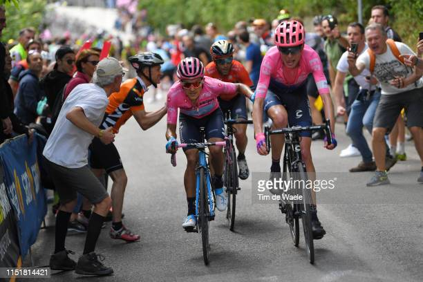 Richard Carapaz of Ecuador and Movistar Team Pink Leader Jersey / Hugh Carthy of United Kingdom and Team EF Education First / Vincenzo Nibali of...