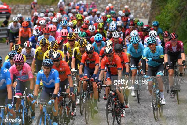 Richard Carapaz of Ecuador and Movistar Team Pink Leader Jersey / Mikel Landa Meana of Spain and Movistar Team / Vincenzo Nibali of Italy and Team...