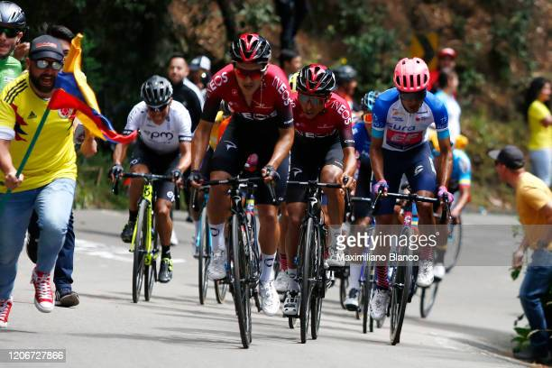 Richard Carapaz of Ecuador and Team INEOS / Egan Arley Bernal Gomez of Colombia and Team INEOS / Daniel Felipe Martinez Poveda of Colombia and Team...