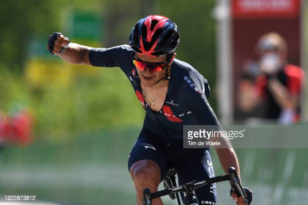 Richard Carapaz of Ecuador and Team INEOS Grenadiers celebrates at arrival during the 84th Tour de Suisse 2021, Stage 5 a 175,2km stage from Gstaad...