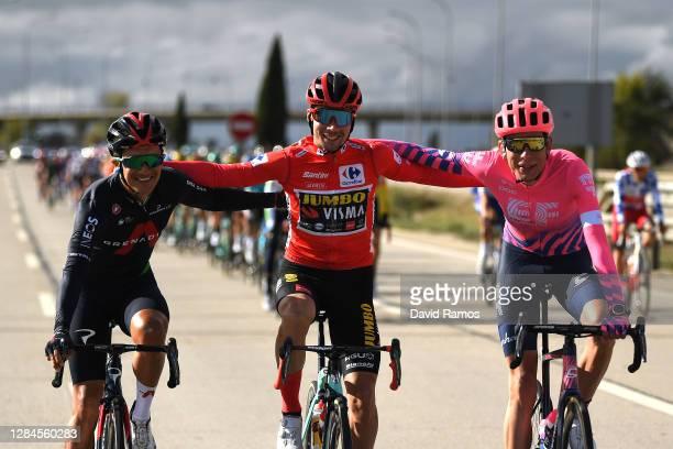 Richard Carapaz of Ecuador and Team INEOS - Grenadiers / Primoz Roglic of Slovenia and Team Jumbo - Visma Red Leader Jersey / Hugh Carthy of The...
