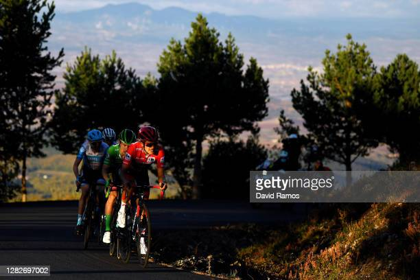 Richard Carapaz of Ecuador and Team INEOS - Grenadiers Red Leader Jersey / Primoz Roglic of Slovenia and Team Jumbo - Visma Green Points Jersey /...