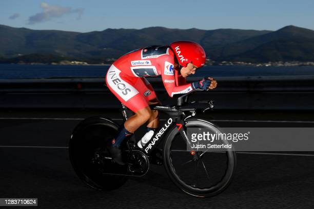 Richard Carapaz of Ecuador and Team INEOS - Grenadiers Red Leader Jersey / during the 75th Tour of Spain 2020, Stage 13 a 33,7km Individual Time...