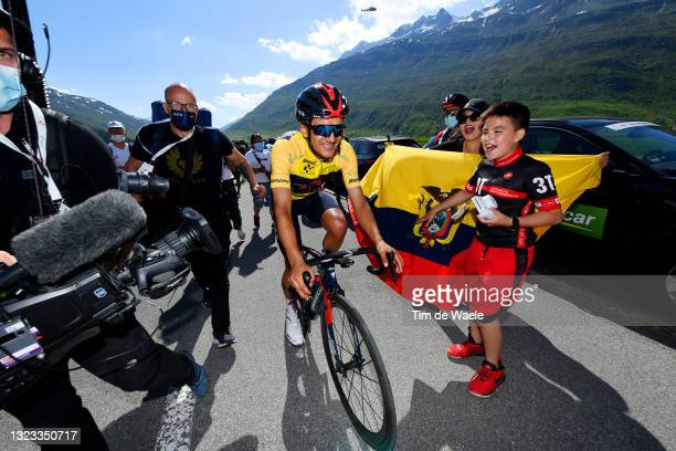 Richard Carapaz of Ecuador and Team INEOS Grenadiers yellow leader jersey during the 84th Tour de Suisse 2021, Stage 8 a 159,5km stage from Andermatt...