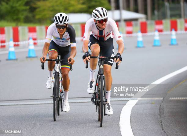 Richard Carapaz of Team Ecuador & Brandon McNulty of Team United States in the breakaway during the Men's road race at the Fuji International...