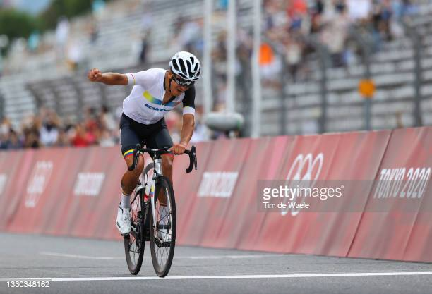 Richard Carapaz of Team Ecuador celebrates winning the gold medal during the Men's road race at the Fuji International Speedway on day one of the...