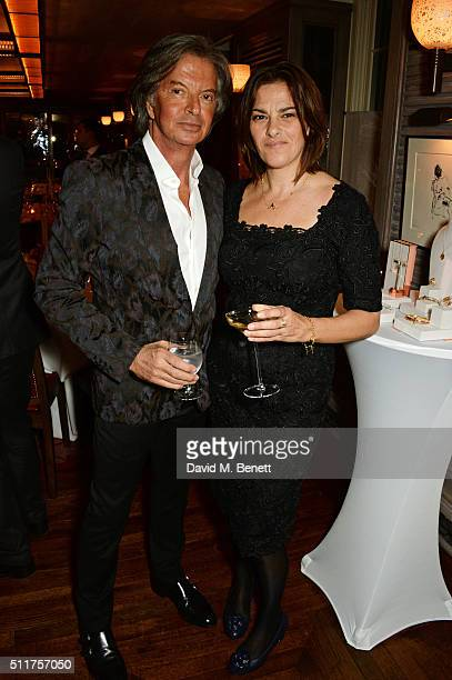 Richard Caring and Tracey Emin attend the launch of Tracey Emin and Stephen Webster's new jewellery collection 'I Promise To Love You' at 34...