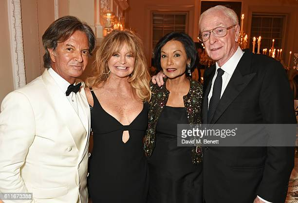 Richard Caring Goldie Hawn Lady Shakira Caine and Sir Michael Caine attend a VIP preview of the new site for Annabel's 46 Berkeley Square on...