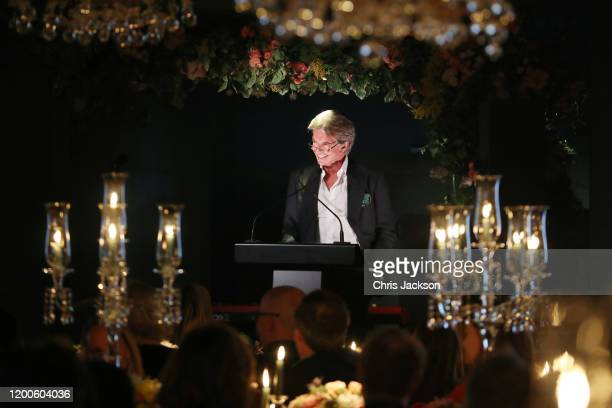 Richard Caring makes a closing speech as Sentebale held an event on January 19 hosted by Mr Mrs Caring on behalf of The Caring Foundation to raise...