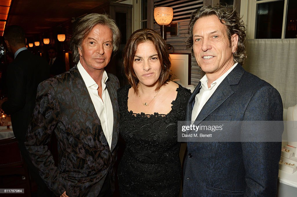 Richard Caring, Tracey Emin and Stephen Webster attend the launch of Tracey Emin and Stephen Webster's new jewellery collection 'I Promise To Love You' at 34 Grosvenor Square on February 22, 2016 in London, England.