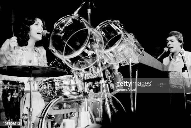 Richard Carpenter and Karen Carpenter from The Carpenters perform live on stage in Copenhagen Denmark in 1974