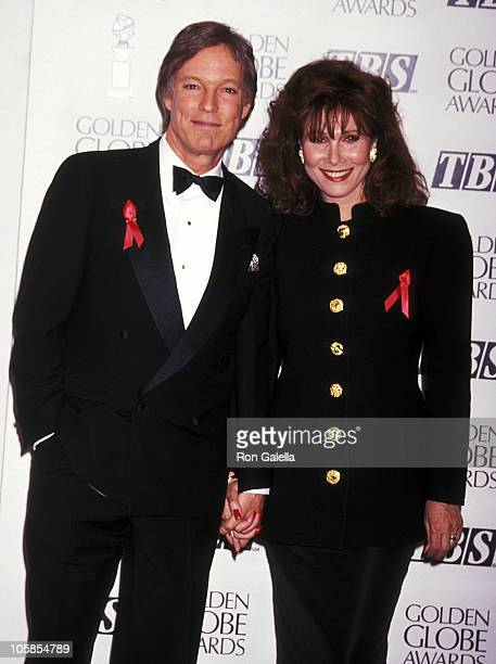 Richard Chamberlain and Michele Lee during The 50th Annual Golden Globe Awards at Beverly Hilton Hotel in Beverly Hills California United States