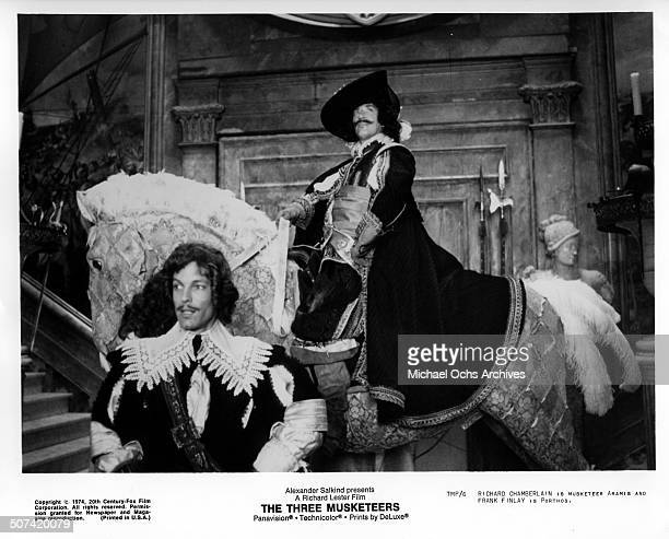 Richard Chamberlain as Aramis and Frank Finlay as Porthos looks on in a scene from the movie The Three Musketeers circa 1974