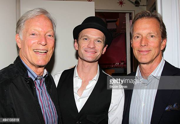 Richard Chamberlain Neil Patrick Harris and Martin Rabbett pose backstage at Hedwig and The Angry Inch on Broadway at The Belasco Theater on May 27...