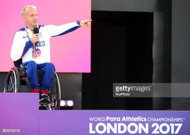 Richard Chiassaro of Great Britain receive his Bronze medal Men's 400m T54 Final during World Para Athletics Championships at London Stadium in...