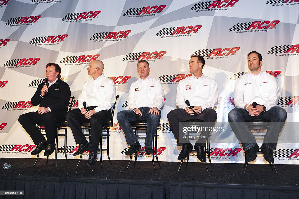 Richard Childress Racing drivers, Jeff Burton, Kevin Harvick, Paul Menard speak to media with Richard Childress at RCR on January 21, 2013 in Lexington, North Carolina.