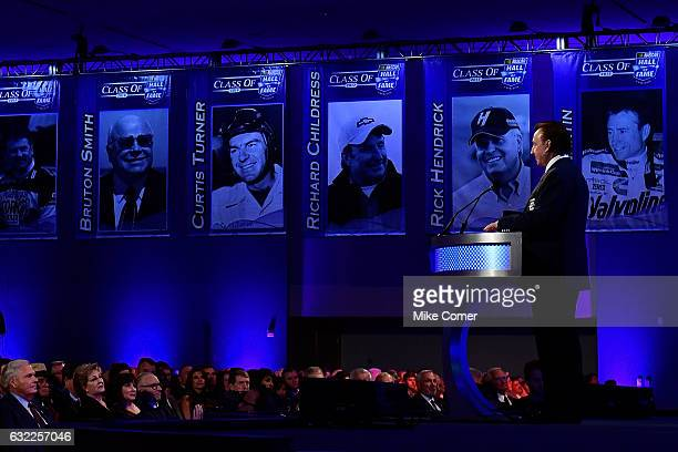 Richard Childress speaks to the audience following his induction to the NASCAR Hall of Fame at the NASCAR Hall of Fame on January 20 2017 in...