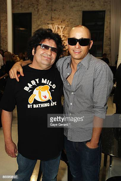Richard Clapton and Mark Lizotte pose during the official launch of `My First Gig With Jimmy Barnes` at Studio 24 on March 25 2009 in Sydney Australia