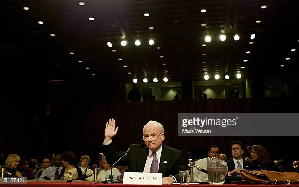 Richard Clarke former National Coordinator for Counterterrorism and National Security is sworn in before the bipartisan September 11 commission...