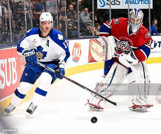 Richard Clune of the Toronto Marlies battles for the puck with Zachary Fucale of the St John's IceCaps during game action on March 26 2016 at Air...