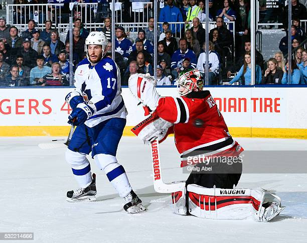 Richard Clune of the Toronto Marlies screens Scott Wedgewood of the Albany Devils during the Toronto Marlies 43 win in AHL playoff game 7 action in...