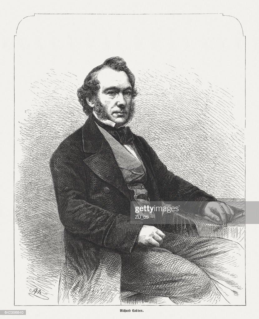 Richard Cobden (1804-1865), British manufacturer, wood engraving, published in 1865 : Stock Photo