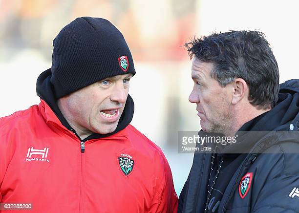 Richard Cockerill and Mike Ford Head Coach of RC Toulon speak ahead of the European Rugby Champions Cup between Saracens and RC Toulon at Allianz...