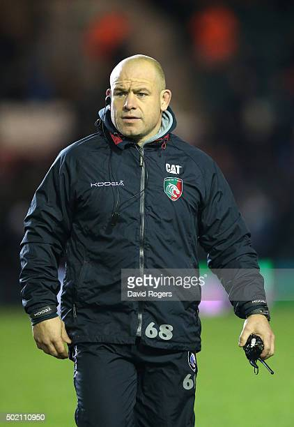 Richard Cockerill the Leicester director of rugby looks on during the European Rugby Champions Cup match between Leicester Tigers and Munster at...