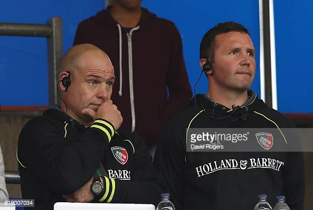 Richard Cockerill the Leicester director of rugby looks on with his head coach Aaron Mauger during the Aviva Premiership match between Saracens and...