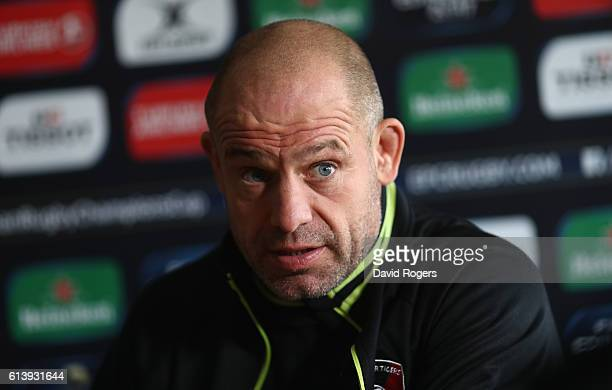 Richard Cockerill the Leicester Tigers director of rugby faces the press during the Leicester Tigers media session held at the Oadby Oval on October...