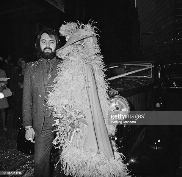 Richard Cole, the tour manager of rock band Led Zeppelin, marries former bunny girl Marilyn Woolhead in London, UK, 3rd January 1974.