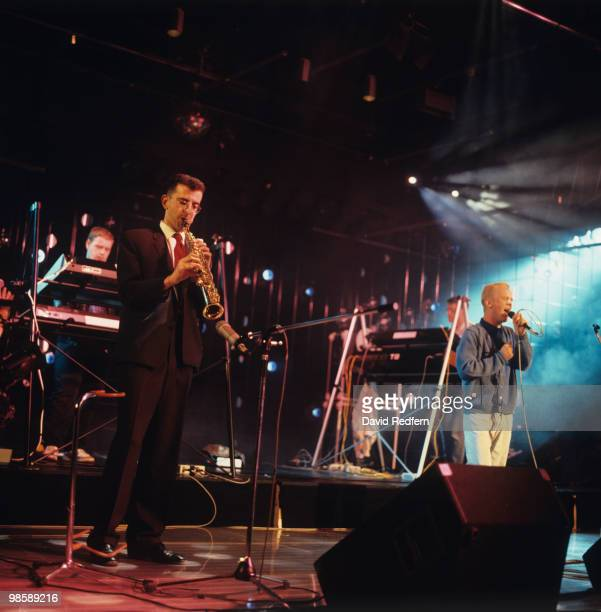 Richard Coles and Jimmy Somerville of Bronski Beat perform on stage in 1985.