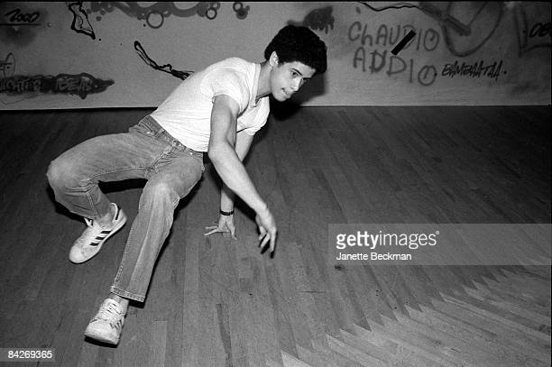 Richard Colon , better known as the breakdancer Crazy Legs, goes through some of his moves on a London dance floor, 1982. He is wearing Adidas...