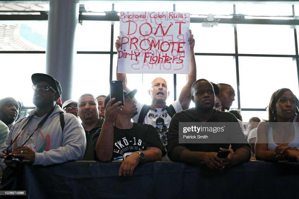 Boxer Prichard Colon's Father Protests Terrel Williams Weigh-in At Barclays Center : News Photo