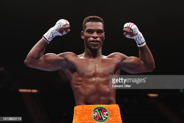 Richard Commey poses after defeating Yardley Cruz by tko in the second round at the Nassau Veterans Memorial Coliseum on August 4 2018 in Uniondale...