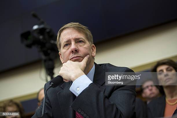 Richard Cordray director of the Consumer Financial Protection Bureau testifies during a House Financial Services Committee hearing in Washington DC...