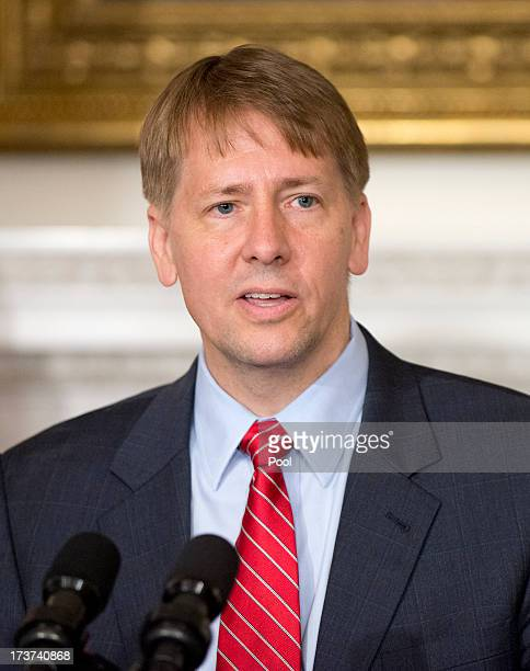 Richard Cordray new Director of the Consumer Financial Protection Bureau makes remarks following those of United States President Barack Obama in the...
