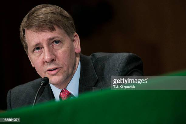 Richard Cordray nominee for director of the Consumer Financial Protection Bureau testifies at a confirmation hearing before the Senate Committee on...