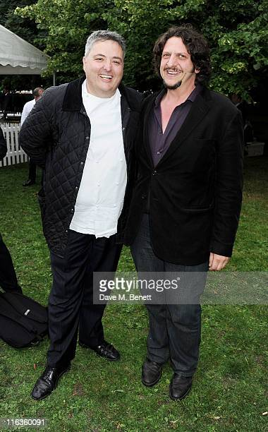 Richard Corrigan and Jay Rayner attend a Preview Night of the Taste of London at The LaurentPerrier Secret Garden in Regent's Park on June 15 2011 in...