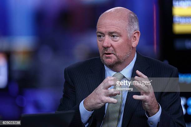 Richard Cousins chief executive officer of Compass Group Plc gestures while speaking during a Bloomberg Television interview in London UK on Tuesday...