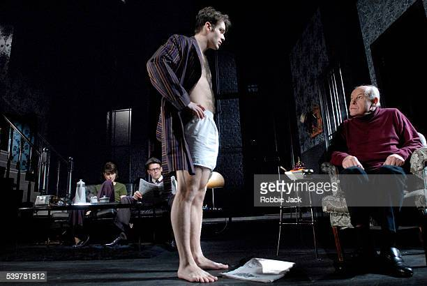 Richard Coyle Charlie Cox Gina McKee and Timothy West in the production The Collection at the Comedy Theatre in London