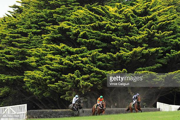 Richard Cully riding Chaparro before winning Race 6 the Wheelie Waste Grand Annual Steeplechase during the Warrnambool May Racing Carnival on May 1...