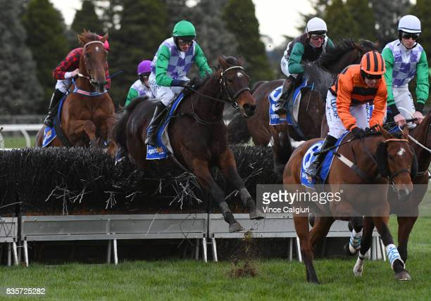 Richard Cully riding Wells on his way to winning Race 6 Grand National Steeple during The Grand National Steeple Day on August 20 2017 in Ballarat...