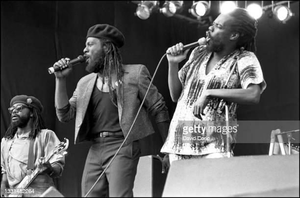 Richard Daley, Bunny Rugs and Michael 'Ibo' Cooper of Third World performing at Reggae Sunsplash, Selhurst Park, Crystal Palace, London, UK on 29...