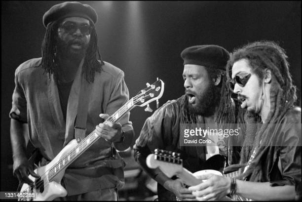 Richard Daley, Bunny Rugs and Stephen 'Cat' Coore of Third World performing at Wembley Arena, London, UK on 28 September 1985